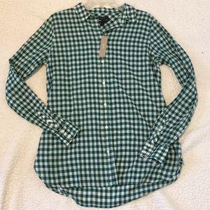 J.crew boy forest green Gingam button up shirt